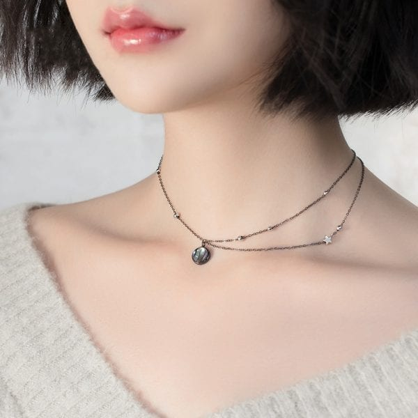 2 Thaya Star Planet Space Milky Way 100 s925 Silver Pendant Necklace Galaxy Crystal Black Chain for